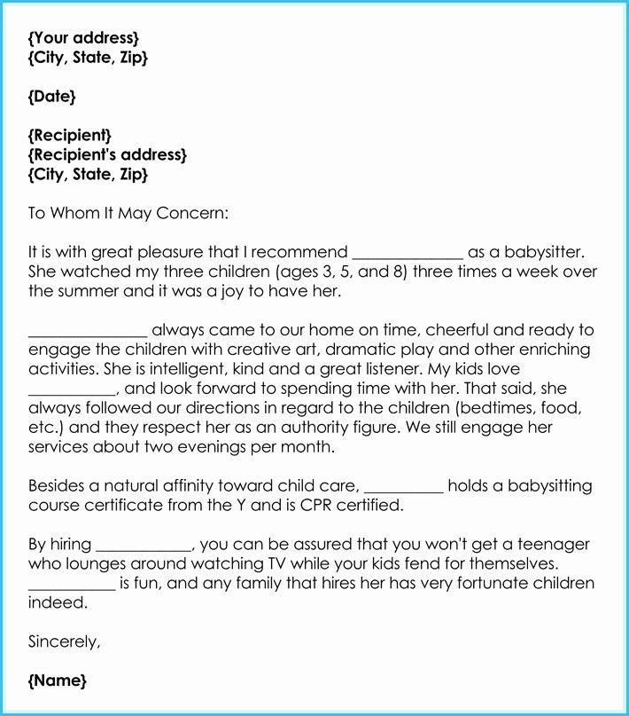Recommendation Letter for Babysitter Lovely Reference Letter Babysitter