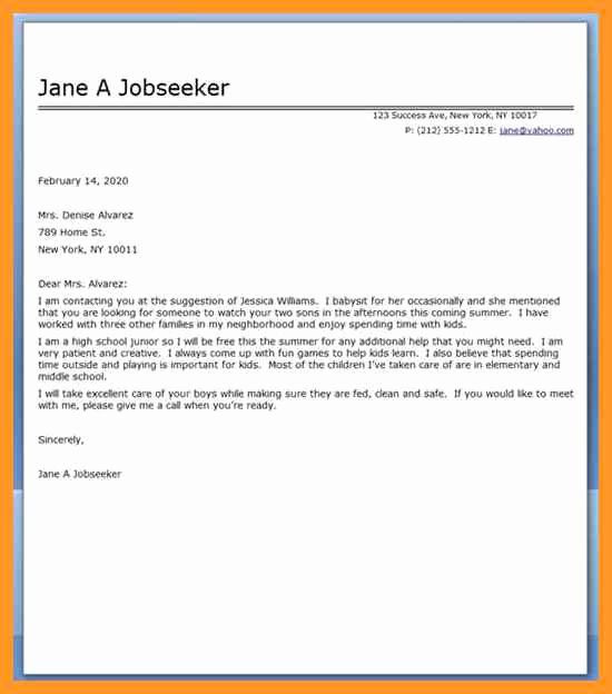 Recommendation Letter for Babysitter Luxury Re Mendation Letter for Babysitter
