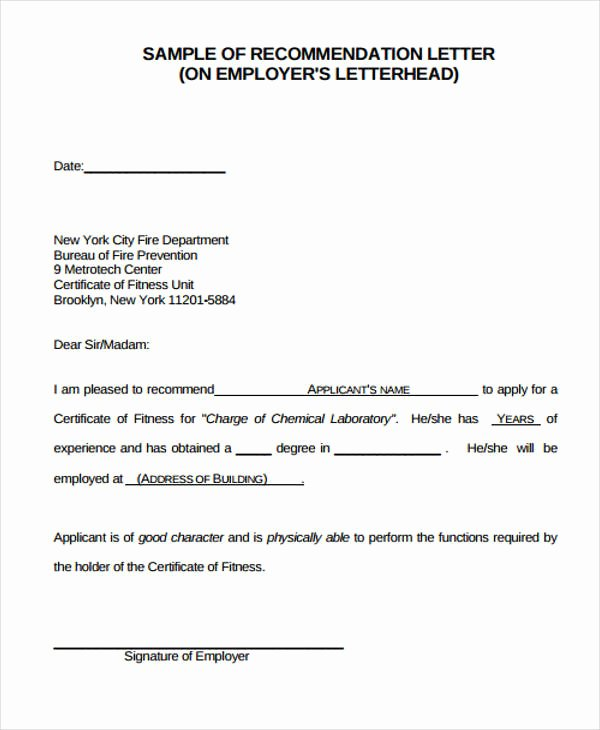 Recommendation Letter for Boss Best Of Employer Re Mendation Letter Sample 9 Examples In