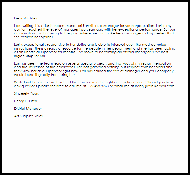 Recommendation Letter for Boss Luxury Manager Re Mendation Letter Example
