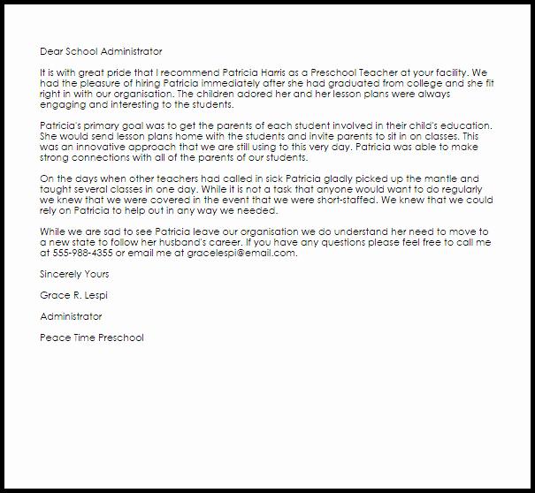 Recommendation Letter for Boss Unique Preschool Teacher Re Mendation Letter Example