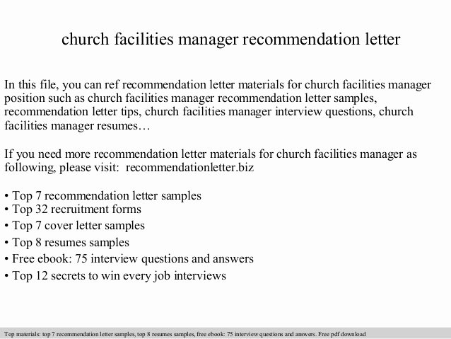 Recommendation Letter for Church Member Awesome Church Facilities Manager Re Mendation Letter