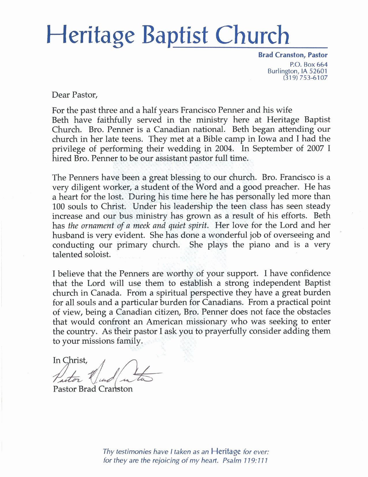 Recommendation Letter for Church Member Elegant Pastor Re Mendation Letter