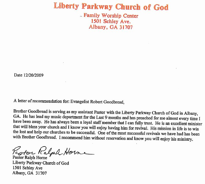 Recommendation Letter for Church Member Fresh Re Mendation – Pastor Horne – Goodbread Ministries