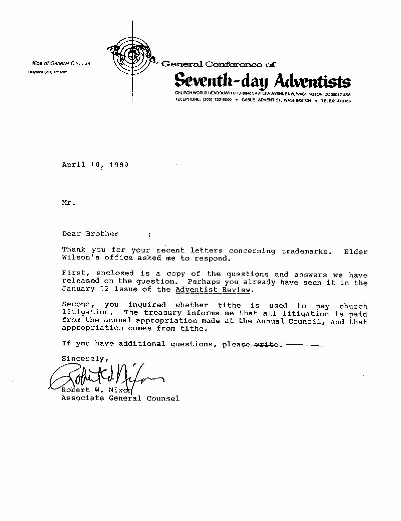 Recommendation Letter for Church Member Inspirational Newsbreak Seventh Day Adventist Church Trademark Alert