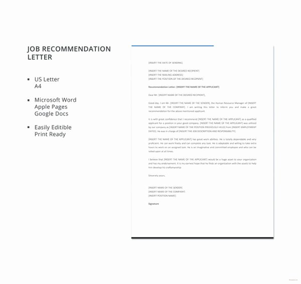 Recommendation Letter for Citizenship Sample Awesome 30 Re Mendation Letter Templates Pdf Doc