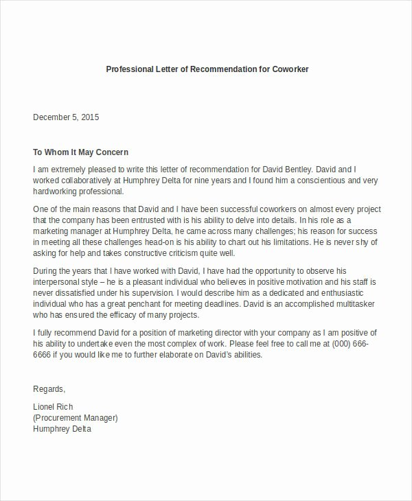 Recommendation Letter for Colleague Professor Elegant Professional Letter Re Mendation