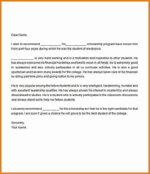 Recommendation Letter for College Scholarship Inspirational Scholarship Re Mendation Letter