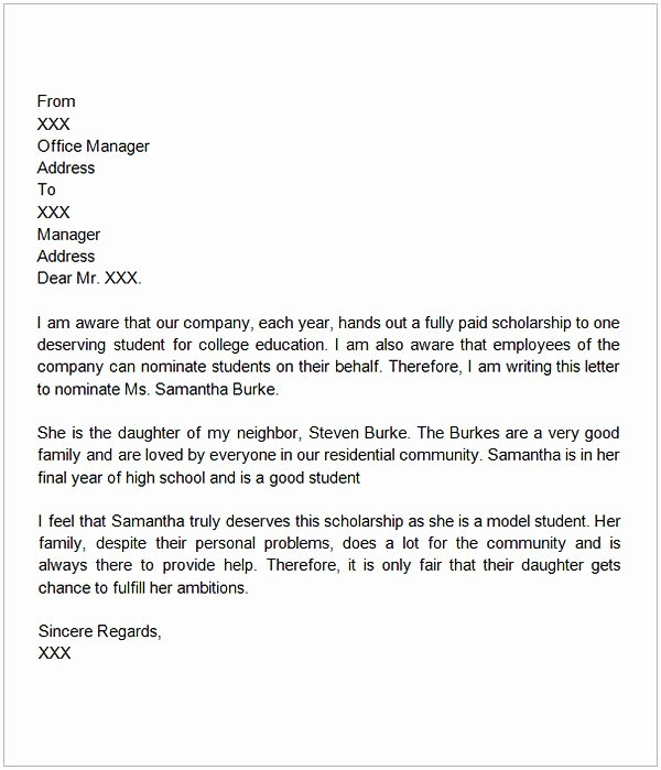 Recommendation Letter for College Scholarship Luxury Letter Of Re Mendation for Scholarship