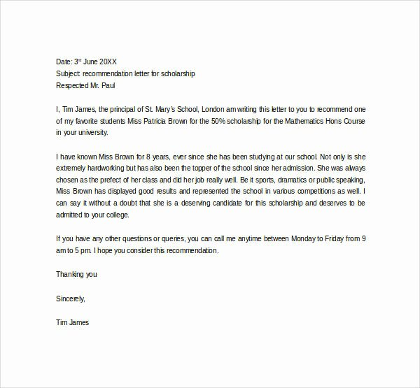 Recommendation Letter for College Scholarship New 30 Sample Letters Of Re Mendation for Scholarship Pdf