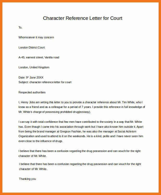 Recommendation Letter for Court Awesome 3 4 Examples Of Character Letters