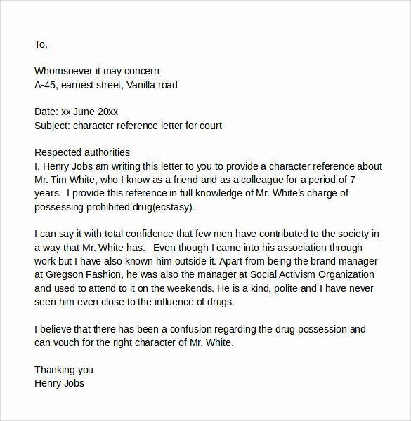 Recommendation Letter for Court Beautiful 11 Court Character Reference Letter Samples Pdf Doc