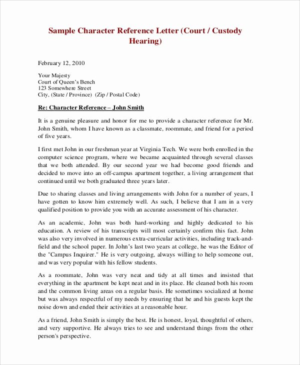 Recommendation Letter for Court Beautiful Sample Character Reference Letter for Court Hearing