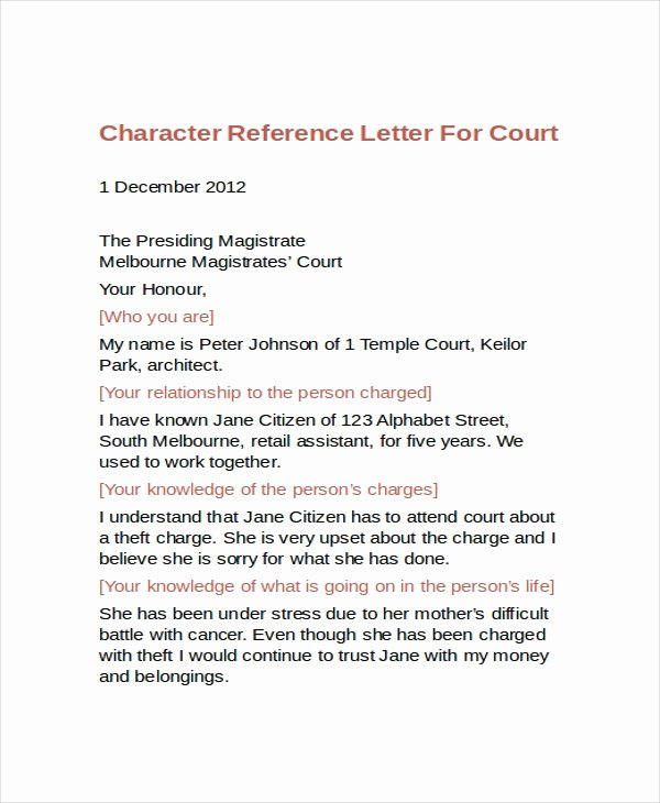 Recommendation Letter for Court Best Of 12 Sample Character Reference Letter Templates Pdf Doc