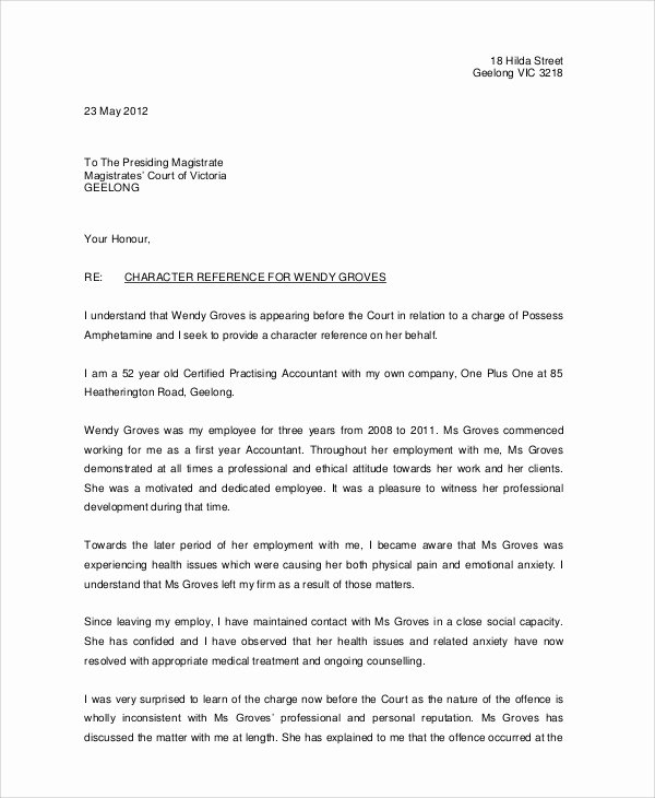 Recommendation Letter for Court Inspirational 12 Sample Character Reference Letters Pdf Word Pages