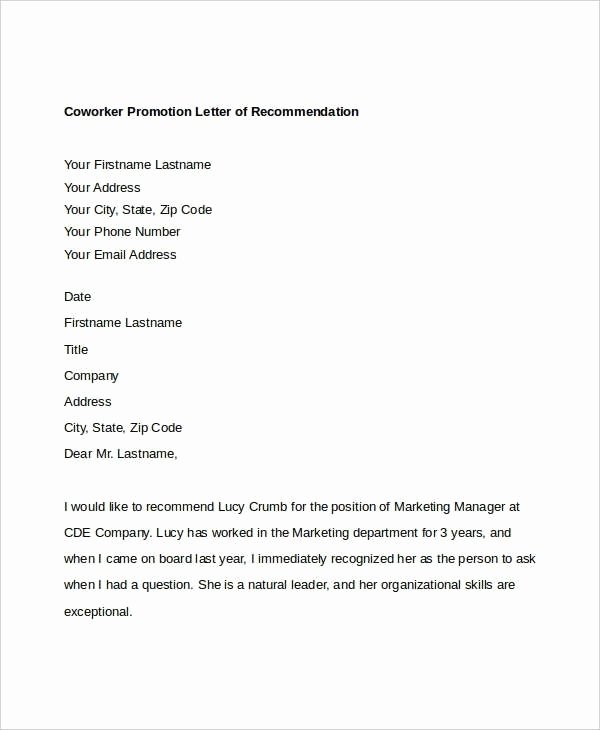 Recommendation Letter for Coworker Pdf Fresh Letter Re Mendation for Coworker