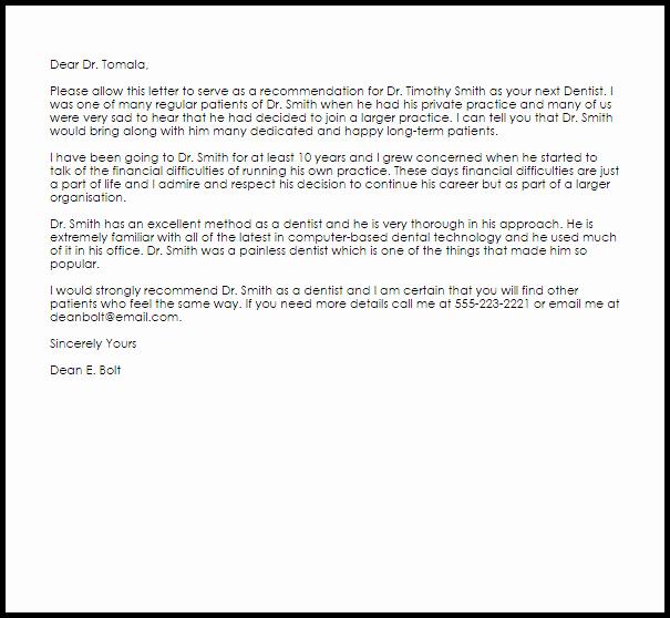 Recommendation Letter for Dental School Unique Dentist Re Mendation Letter Example