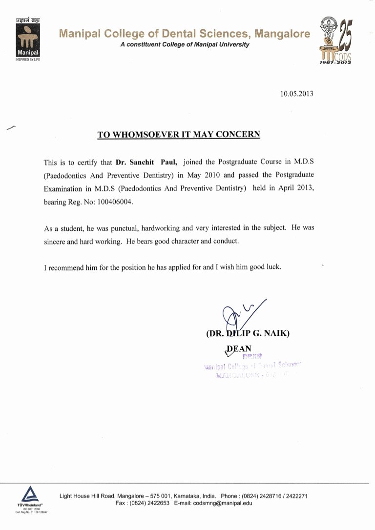 Recommendation Letter for Dentist Inspirational Letter Of Re Mendation From Dean Manipal College Of