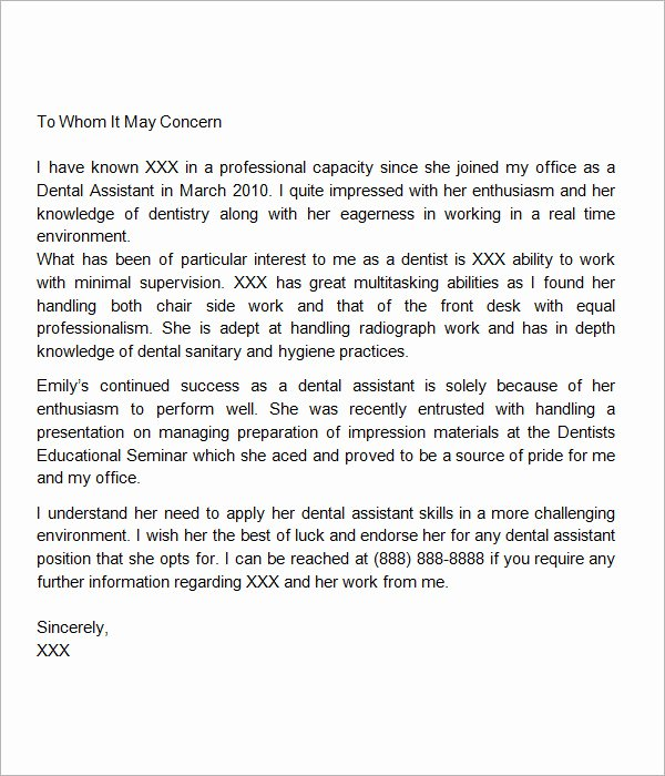 Recommendation Letter for Dentist Unique Sample Re Mendation Letter 8 Free Documents In Word