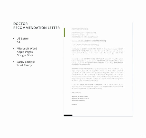 Recommendation Letter for Doctor Awesome 30 Re Mendation Letter Templates Free Sample