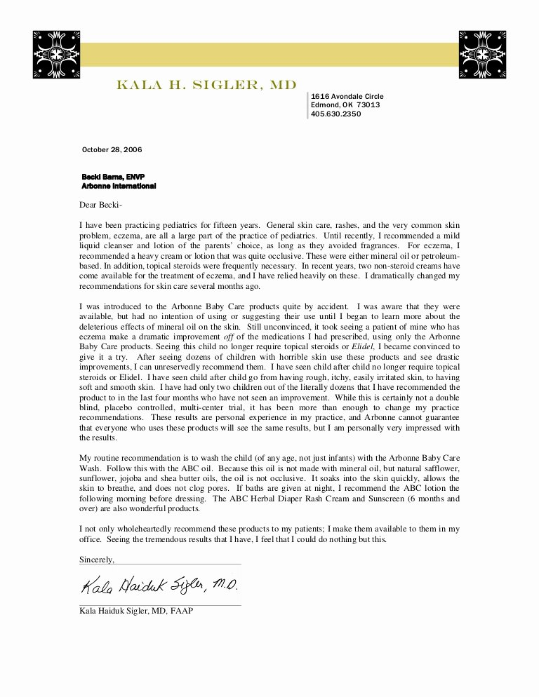 Recommendation Letter for Doctor Awesome Arbonne Abc Re Mendation Letter Dr Sigler
