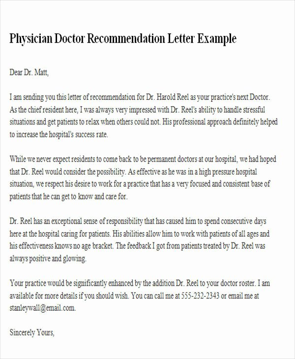 Recommendation Letter for Doctor Luxury 8 Sample Physician Re Mendation Letters Doc Pdf