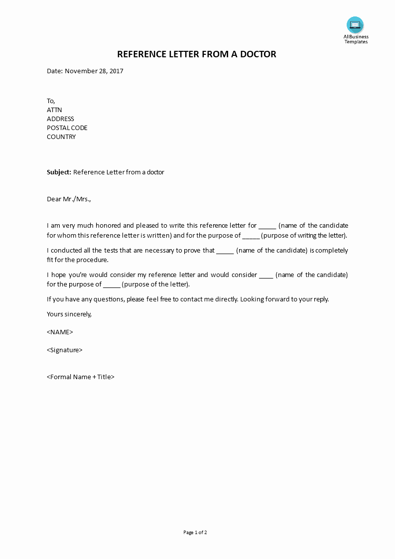 Recommendation Letter for Doctor Pdf Fresh Free Reference Letter From A Doctor
