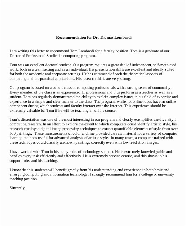 Recommendation Letter for Doctor Pdf Lovely 59 Reference Letters Word Google Docs Apple Pages