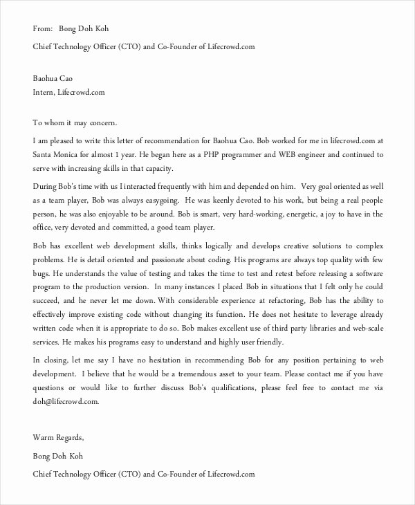 Recommendation Letter for Engineer Awesome 13 Employment Reference Letter Templates Free Sample