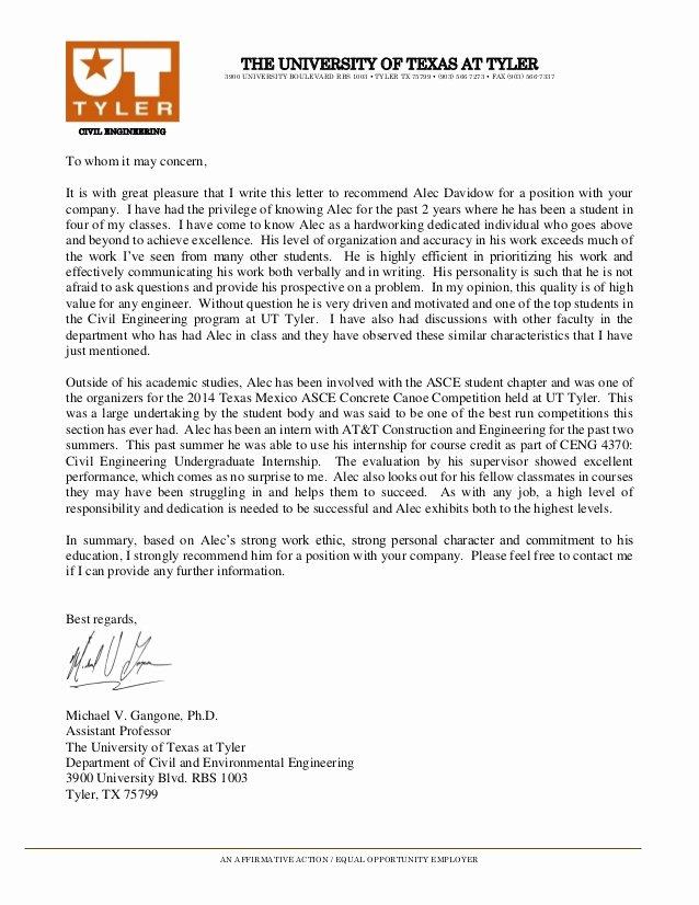 Recommendation Letter for Engineer Beautiful Letter Of Re Mendation Ut Tyler