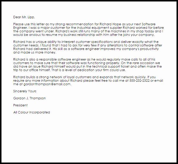 Recommendation Letter for Engineer Elegant software Engineer Re Mendation Letter Example
