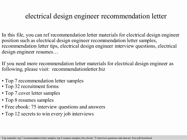Recommendation Letter for Engineer Fresh Electrical Design Engineer Re Mendation Letter