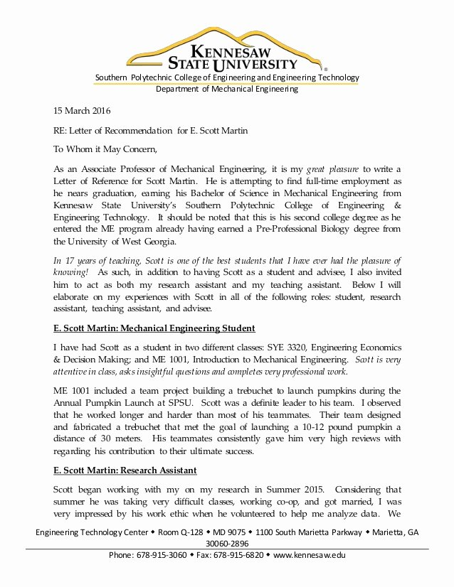 Recommendation Letter for Engineer Inspirational Scott Martin Generic Letter Of Re Mendation From