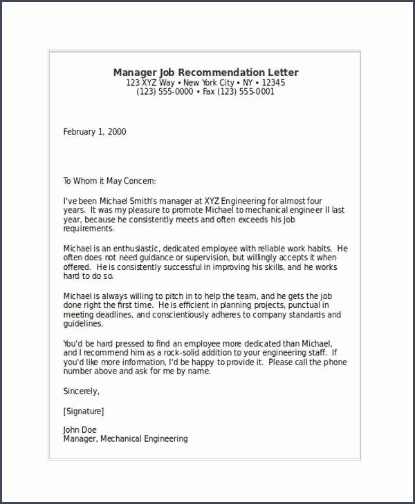 Recommendation Letter for Engineer Luxury Job Re Mendation Sample and 10 Job Re Mendation Letters