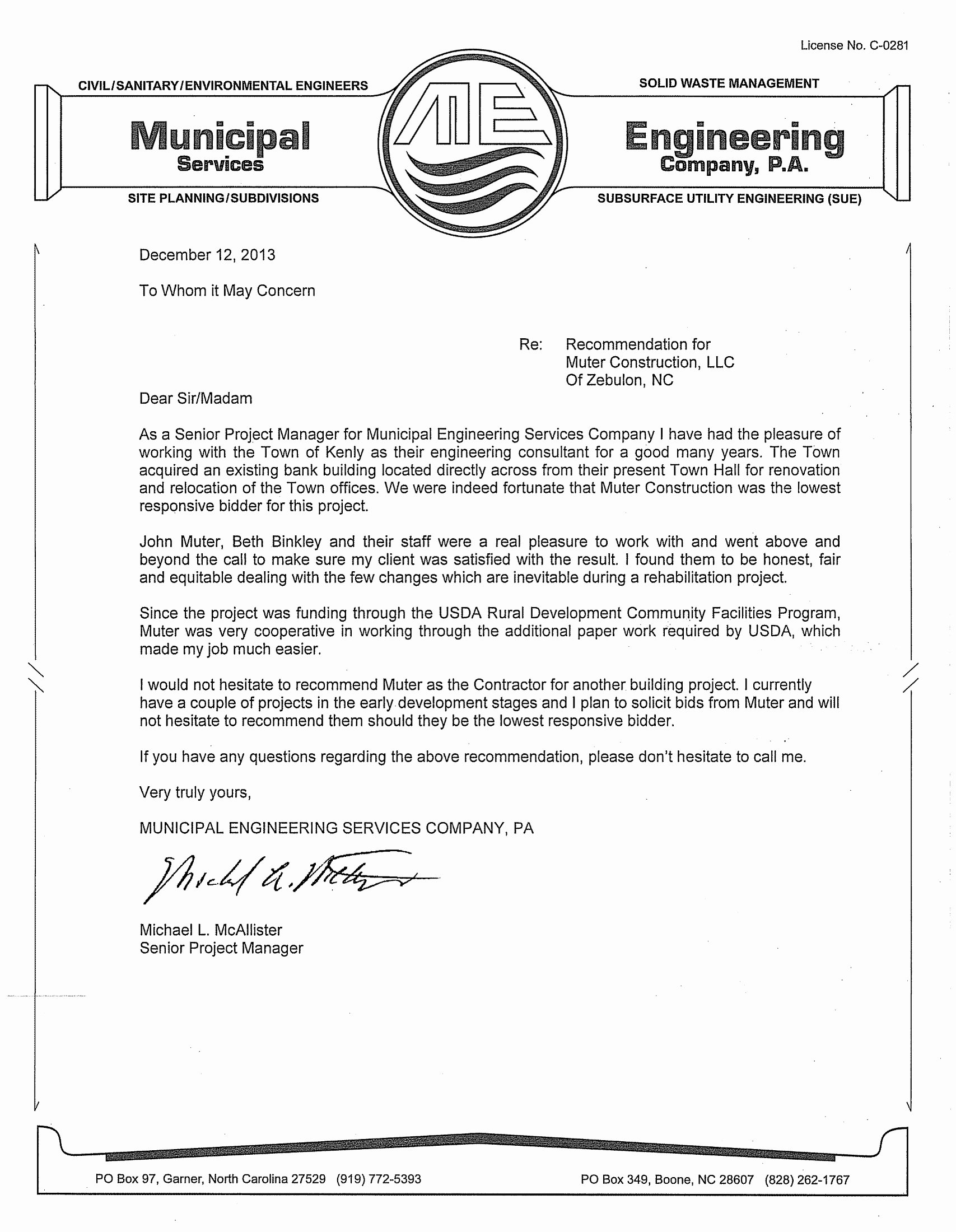 Recommendation Letter for Engineer New Letterreference Kenly