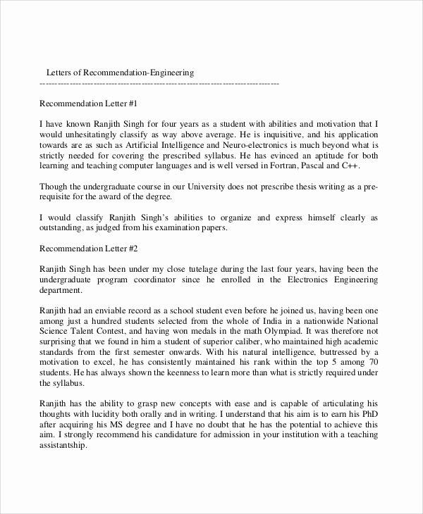 Recommendation Letter for Engineer Unique Closing A Letter Re Mendation Letter Of Re Mendation