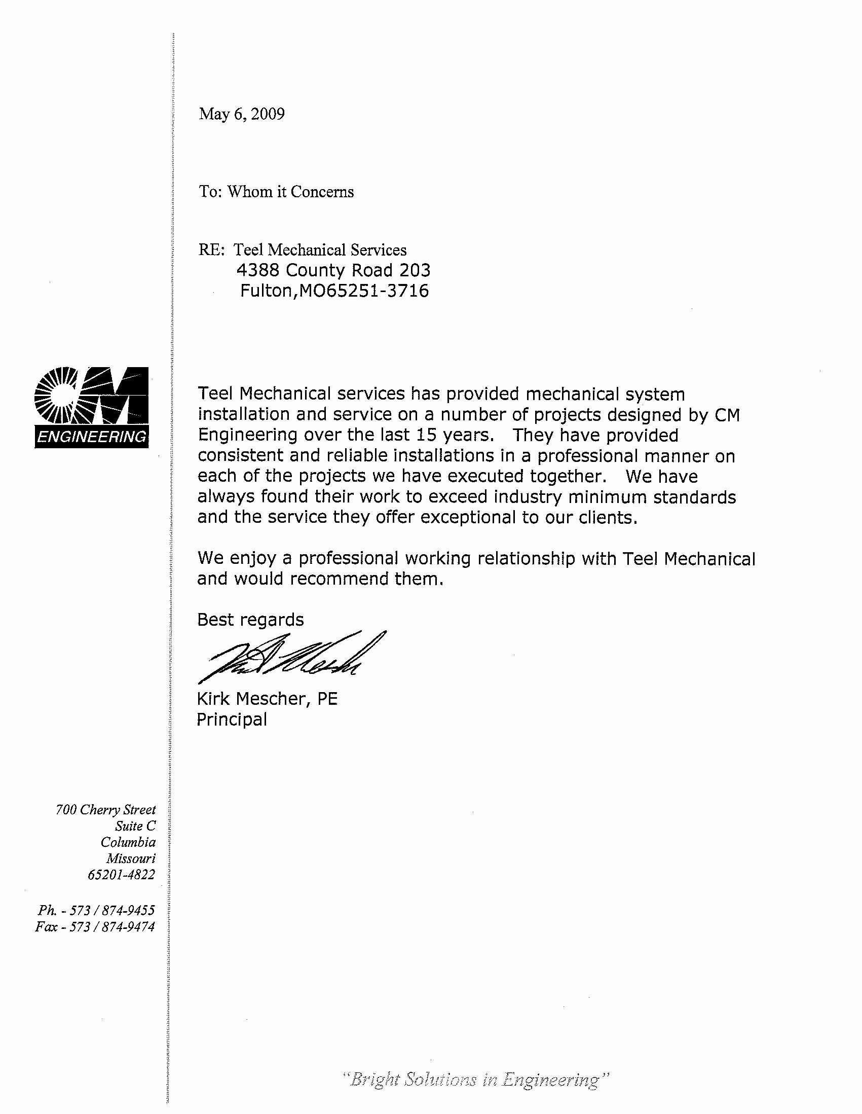 Recommendation Letter for Engineer Unique Teel Mechanical