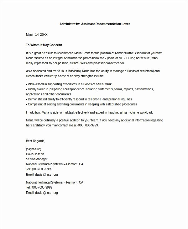 Recommendation Letter for Executive assistant Beautiful Sample Letter Of Re Mendation 20 Free Documents