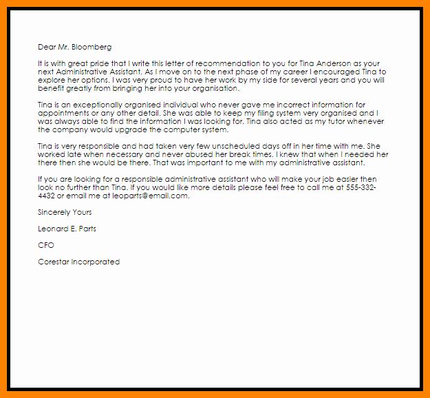 9 re mendation letter for administrative assistant