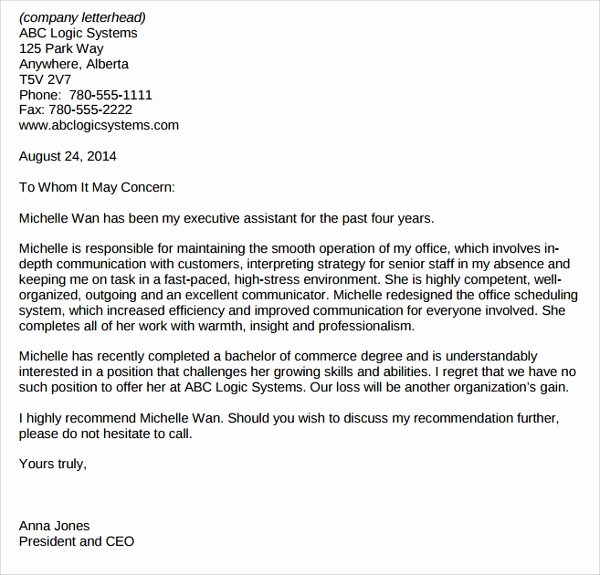 Recommendation Letter for Executive assistant Inspirational 8 Administrative assistant Reference Letters Pdf Word
