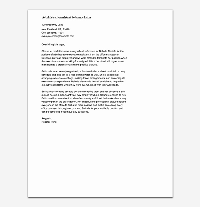 Recommendation Letter for Executive assistant Inspirational Reference Letter Template 50 for Word & Pdf format