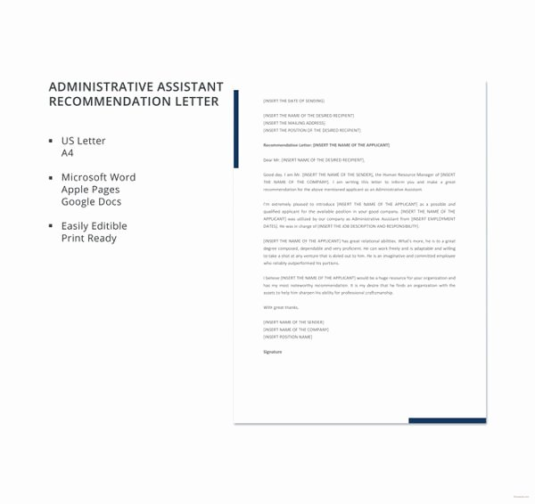 Recommendation Letter for Executive assistant Luxury 45 Free Re Mendation Letter Templates