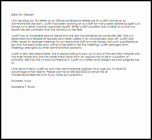 Recommendation Letter for Executive assistant New Administrative assistant Reference Letter Example