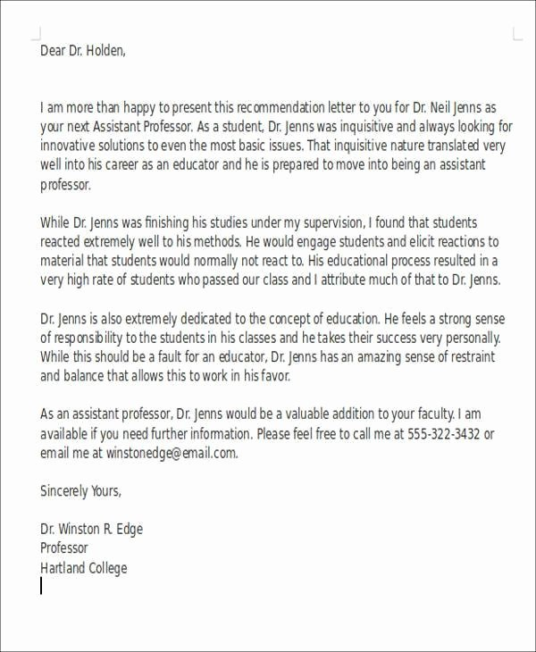 Recommendation Letter for Faculty Position Elegant Sample Letter Re Mendation for assistant Professor