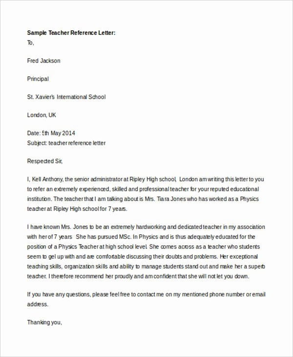 Recommendation Letter for Faculty Position Fresh 7 Teacher Reference Letters Free Samples Examples