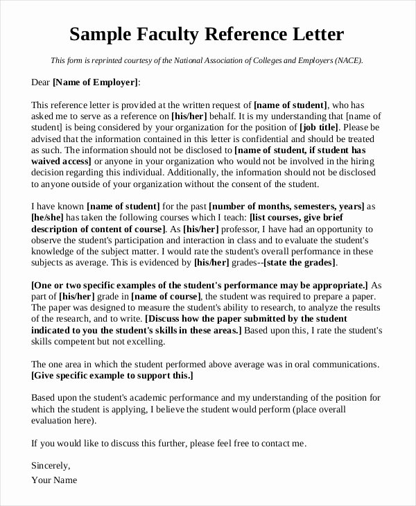 Recommendation Letter for Faculty Position Fresh Reference Letter Academic Position Sample