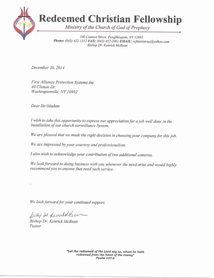 Recommendation Letter for Fellowship Inspirational Redeemed Christian Fellowship Church Re Mendation