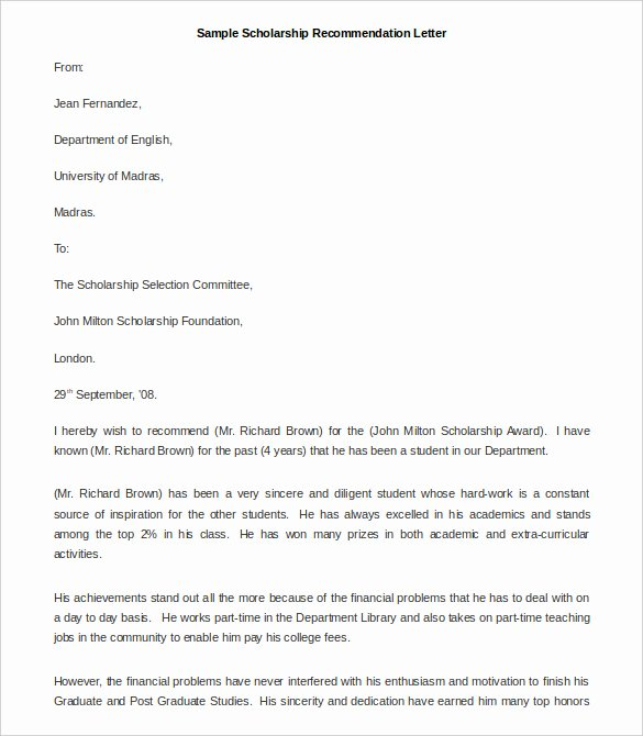 Recommendation Letter for Fellowship Lovely 30 Re Mendation Letter Templates Pdf Doc