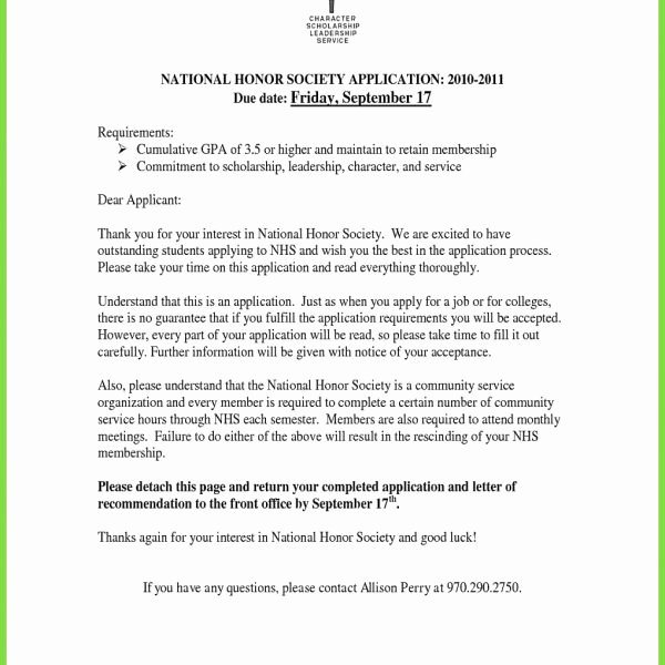 Recommendation Letter for Honor society Awesome Sample Letter Of Re Mendation for Nhs Student