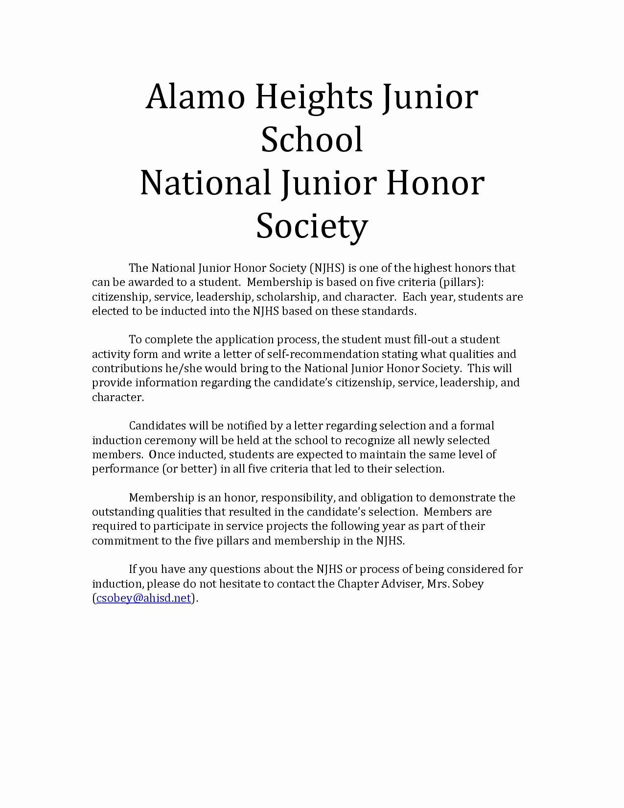 Recommendation Letter for Honor society Best Of Letter Re Mendation National Honor society